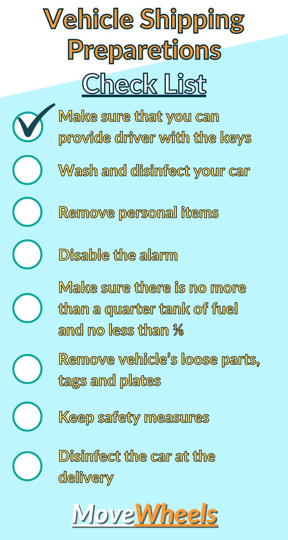 Checklist for vehicle shipping preparetions