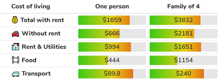 average price for living in Tesax