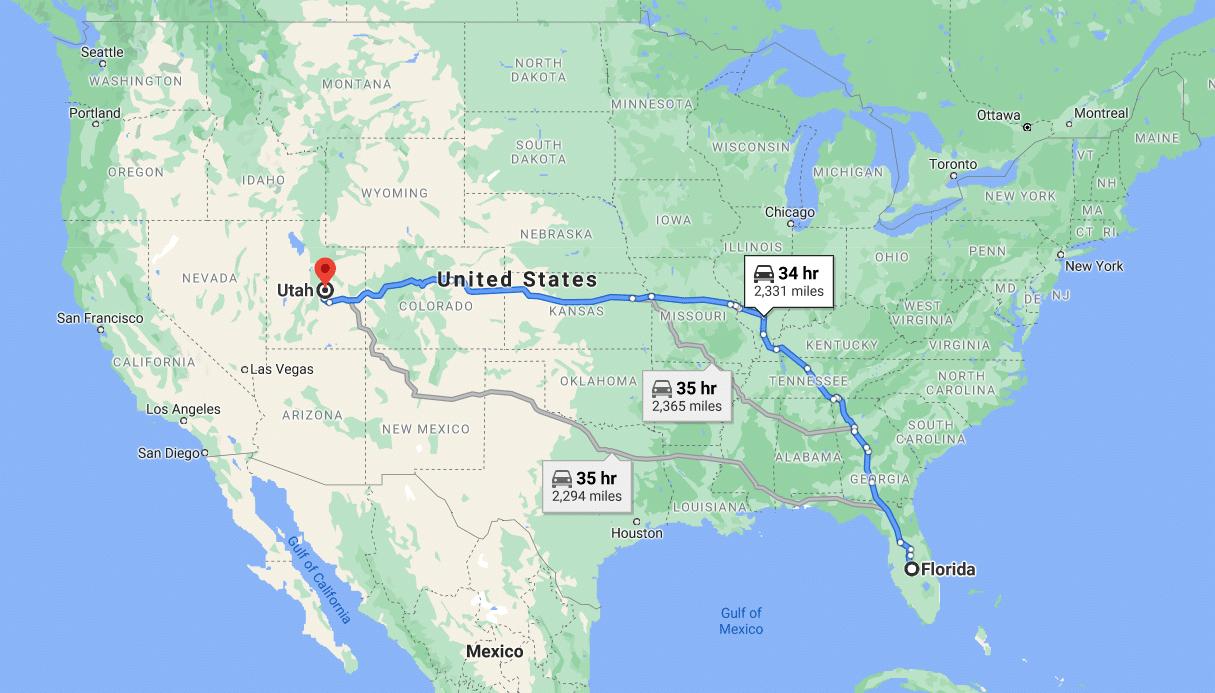 Auto transportation routes to KS