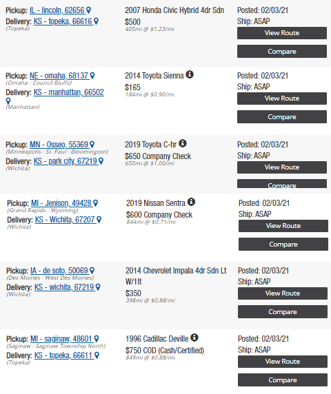shipping cost from North to KS