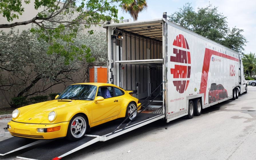 enclosed car hauler which is used to ship vehicles across country