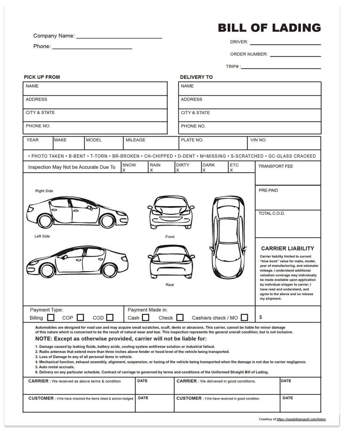 Bill of lading car shipping